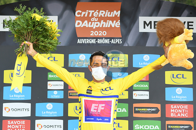 Daniel Martinez (COL) EF Pro Cycling wins the overall general classification Yellow Jersey after coming in 2nd place at the end of Stage 5 of Criterium du Dauphine 2020, running 153.5km from Megeve to Megeve, France. 16th August 2020.<br /> Picture: ASO/Alex Broadway   Cyclefile<br /> All photos usage must carry mandatory copyright credit (© Cyclefile   ASO/Alex Broadway)