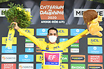 Daniel Martinez (COL) EF Pro Cycling wins the overall general classification Yellow Jersey after coming in 2nd place at the end of Stage 5 of Criterium du Dauphine 2020, running 153.5km from Megeve to Megeve, France. 16th August 2020.<br /> Picture: ASO/Alex Broadway | Cyclefile<br /> All photos usage must carry mandatory copyright credit (© Cyclefile | ASO/Alex Broadway)