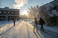 Students cross UAA's Cuddy Quad outside Sally Monserud and Eugene Short Halls during the first week of the 2020 Spring Semester.