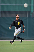 Pittsburgh Pirates Cristian Navarro (2) makes a play on a fly ball during an Instructional League intrasquad black and gold game on September 28, 2017 at Pirate City in Bradenton, Florida.  (Mike Janes/Four Seam Images)