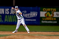 29 August 2019: Vermont Lake Monsters infielder Logan Davidson gets the first out in the 7th inning during a game against the Connecticut Tigers at Centennial Field in Burlington, Vermont. The Lake Monsters fell to the Tigers 6-2 in the first game of their NY Penn League double-header.  Mandatory Credit: Ed Wolfstein Photo *** RAW (NEF) Image File Available ***