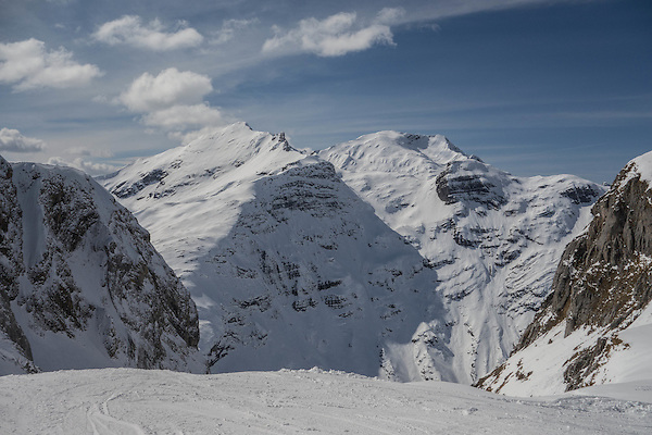 Skiing from top of Madloch Lift, Zurs Ski Area, Austria