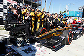 2017 Verizon IndyCar Series<br /> Toyota Grand Prix of Long Beach<br /> Streets of Long Beach, CA USA<br /> Sunday 9 April 2017<br /> James Hinchcliffe celebrates with his crew in victory lane<br /> World Copyright: Phillip Abbott/LAT Images<br /> ref: Digital Image lat_abbott_lbgp_0417_15290
