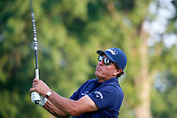 3rd July 2021, Detroit, MI, USA;  Phil Mickelson hits his tee shot on the 2nd hole on July 3, 2021 during the Rocket Mortgage Classic at the Detroit Golf Club in Detroit, Michigan.