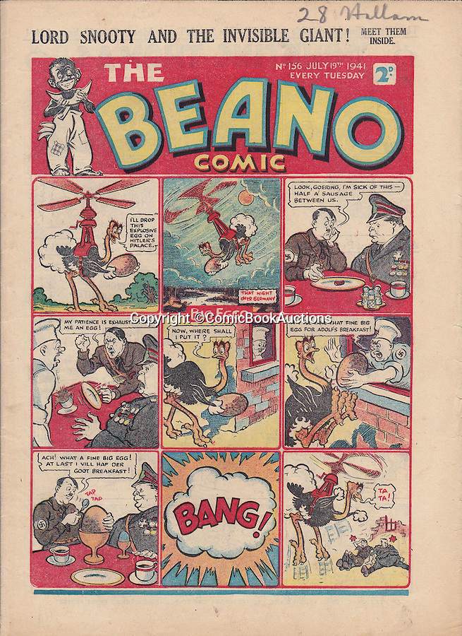 BNPS.co.uk (01202 558833)<br /> Pic: ComicBookAuctions/BNPS<br /> <br /> In this issue of the Beano from July 1941 Big Eggo takes an explosive shell to Hitler in Berlin.<br /> <br /> Hearts and minds - Collection of wartime comics reveals the British response to the Nazi propaganda machine during WW2.<br /> <br /> The Nazi's may have had the Hitler youth but an amazing collection of wartime comics reveals how Britain fought for the hearts and minds of its children through the unlikely pages of the Beano and Hotspur.<br /> <br /> Although comic books were in their infancy at the outbreak of the war, the industry quickly got behind the war effort.<br /> <br /> A collection of popular boys' publications due to appear at auction have revealed the extent of the propaganda effectuated by British media.  <br /> <br /> Their bold front covers and story lines made every effort to ridicule Hitler and his henchmen and promote the plucky British underdog and the fast changing technology of War.<br /> <br /> The online sale of the wartime comics by London auctioneer Comic Book Auctions will end on September 4.