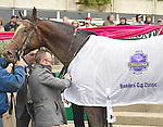 Tonalist (no. 6), ridden by John Velazquez and trained by Christophe Clement, wins the 97th running of the grade 1 Jockey Club Gold Cup Stakes for three year olds and upward on October 03, 2015 at Belmont Park in Elmont, New York.  (Bob Mayberger/Eclipse Sportswire)