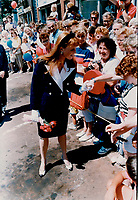 1989 FILE PHOTO - ARCHIVES -<br /> <br /> After city hall reception: People of Charlottetown; P.E.I. reach out to the Duchess with cheers. smiles and handshakes.