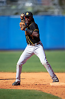 Bethune-Cookman Wildcats shortstop Demetrius Sims (7) during practice before a game against the Wisconsin-Milwaukee Panthers on February 26, 2016 at Chain of Lakes Stadium in Winter Haven, Florida.  Wisconsin-Milwaukee defeated Bethune-Cookman 11-0.  (Mike Janes/Four Seam Images)