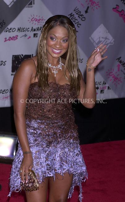 La La at 2003 Video Music Awards. New York, August 28, 2003. Please byline: NY Photo Press.   ..*PAY-PER-USE*      ....NY Photo Press:  ..phone (646) 267-6913;   ..e-mail: info@nyphotopress.com