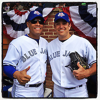 COOPERSTOWN, NY - MAY 24:  Instagram of Roberto Alomar and Alex Gonzalez on the field before the Hall of Fame Classic game at Doubleday Field on May 24, 2014 in Cooperstown, New York. Photo by Brad Mangin