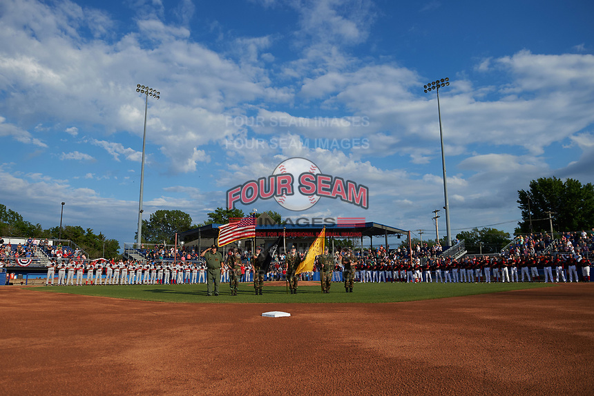 General view of the National Anthem presentation before a Batavia Muckdogs game against the Auburn Doubledays on June 19, 2017 at Dwyer Stadium in Batavia, New York.  Batavia defeated Auburn 8-2 in both teams opening game of the season.  (Mike Janes/Four Seam Images)