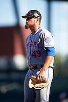 Scottsdale Scorpions pitcher David Roseboom (49), of the New York Mets organization, walks off the field after a game against the Mesa Solar Sox on October 21, 2016 at Sloan Park in Mesa, Arizona.  Mesa defeated Scottsdale 4-3.  (Mike Janes/Four Seam Images)