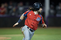 Evan Pietronico (4) of the NJIT Highlanders hustles down the first base line against the High Point Panthers during game two of a double-header at Williard Stadium on February 18, 2017 in High Point, North Carolina.  The Highlanders defeated the Panthers 4-2.  (Brian Westerholt/Four Seam Images)