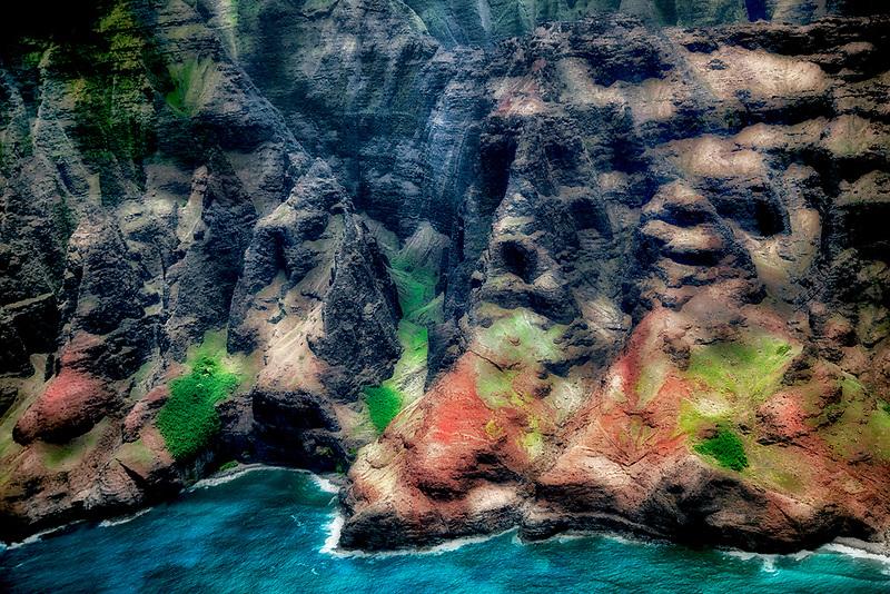 Na Pali coastline from the air. Kauai, Hawaii.
