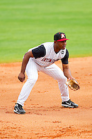 Third baseman Juan Silverio #18 of the Kannapolis Intimidators on defense against the West Virginia Power at Fieldcrest Cannon Stadium on April 20, 2011 in Kannapolis, North Carolina.   Photo by Brian Westerholt / Four Seam Images