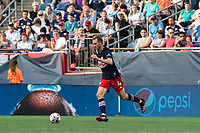 FOXBOROUGH, MA - AUGUST 8: Henry Kessler #4 of New England Revolution dribbles during a game between Philadelphia Union and New England Revolution at Gillette Stadium on August 8, 2021 in Foxborough, Massachusetts.