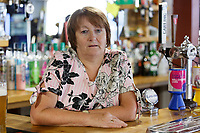 Pictured: Pub landlady Noreen Sinnott. Thursday 28 June 2018<br /> Re: The bell of St Mary's Church in the town of Fishguard will not be ringing on Sunday morning in west Wales, UK.