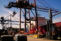 Container shipping at Casco Centerm Container Terminal. Transportation, industry, crane, ship, freighter, harbor, trade, port. Vancouver British Columbia Canada inner harbour.