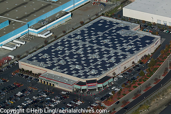 aerial photograph of a solar panel roof top at a Costco warehouse in Richmond, Contra Costa county, California