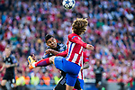 Antoine Griezmann of Atletico de Madrid competes for the ball with Danilo Luiz da Silva of Real Madrid during the match of Champions League between Atletico de Madrid and Real Madrid at Vicente Calderon Stadium in Madrid, May 10, 2017. Spain.