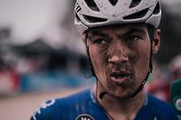 Yves Lampaert's (BEL/Quick Step Floors) post-race face<br /> <br /> 116th Paris-Roubaix (1.UWT)<br /> 1 Day Race. Compiègne - Roubaix (257km)