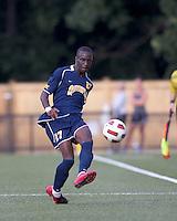 Quinnipiac University forward Demba Sylla (27) passes the ball. Boston College defeated Quinnipiac, 5-0, at Newton Soccer Field, September 1, 2011.