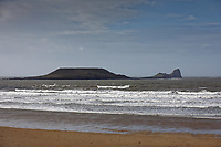 Pictured: Worm's Head. Tuesday 18 February 2020<br /> Re: General view of Rhossili in the Gower Peninsula near Swansea, Wales, UK.