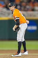 Oklahoma State Cowboys pitcher Trey Cobb (25) looks to his catcher for the sign against the Arizona Wildcats during Game 6 of the NCAA College World Series on June 20, 2016 at TD Ameritrade Park in Omaha, Nebraska. Oklahoma State defeated Arizona 1-0. (Andrew Woolley/Four Seam Images)