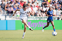 CARY, NC - SEPTEMBER 12: Emily Menges #5 of the Portland Thorns passes the ball during a game between Portland Thorns FC and North Carolina Courage at Sahlen's Stadium at WakeMed Soccer Park on September 12, 2021 in Cary, North Carolina.