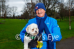 Mossie Carrig with Willow the dog enjoying a stroll in the Listowel town park on Sunday.