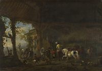 Full title: The Interior of a Stable<br /> Artist: Philips Wouwermans<br /> Date made: probably 1655-60<br /> The National Gallery, London