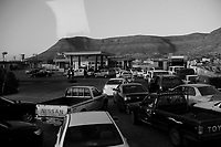 Near Tarhouna, Libya, March 23, 2011.After a week of attacks and a punishing blockade by the coalition, it becomes more and more difficult for the Libyans to find petrol, many gas stations are closed and empty while others strictly limit the volume of petrol sold to each customer.