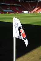 24th April 2021; The Valley, London, England; English Football League One Football, Charlton Athletic versus Peterborough United; The Charlton emblem on a corner flag in the bright sunshine