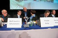 Gruendungsparteitag der Anti-Europartei Alternative fuer Deutschland am Sonntag den 14. April 2013 im Berliner Hotel Interconti.<br />Im Bild sitzend vlnr.: Dr. Norbert Stenzel; Wolf-Joachim Schünemann; die Parteisprecherin Dr. Frauke Petry; der Parteisprecher Dr. Konrad Adam; der Parteisprecher Prof. Dr. Bernd Lucke.<br />14.4.2013, Berlin<br />Copyright: Christian-Ditsch.de<br />[Inhaltsveraendernde Manipulation des Fotos nur nach ausdruecklicher Genehmigung des Fotografen. Vereinbarungen ueber Abtretung von Persoenlichkeitsrechten/Model Release der abgebildeten Person/Personen liegen nicht vor. NO MODEL RELEASE! Don't publish without copyright Christian-Ditsch.de, Veroeffentlichung nur mit Fotografennennung, sowie gegen Honorar, MwSt. und Beleg. Konto:, I N G - D i B a, IBAN DE58500105175400192269, BIC INGDDEFFXXX, Kontakt: post@christian-ditsch.de<br />Urhebervermerk wird gemaess Paragraph 13 UHG verlangt.]