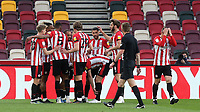Brentford players congratulate Bryan Mbeumo after scoring their opening goal during Brentford vs Rotherham United, Sky Bet EFL Championship Football at the Brentford Community Stadium on 27th April 2021