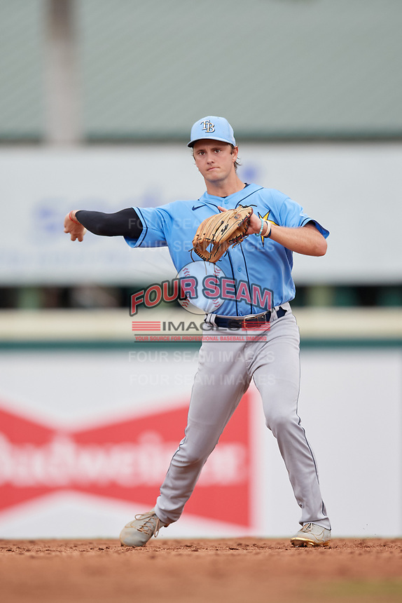 FCL Rays shortstop Tanner Murray (53) throws the ball around during a game against the FCL Pirates Gold on July 26, 2021 at LECOM Park in Bradenton, Florida. (Mike Janes/Four Seam Images)