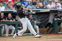 Texas Tech Red Raiders outfielder Kurt Wilson (8) swings the bat during Game 1 of the NCAA College World Series against the Michigan Wolverines on June 15, 2019 at TD Ameritrade Park in Omaha, Nebraska. Michigan defeated Texas Tech 5-3. (Andrew Woolley/Four Seam Images)