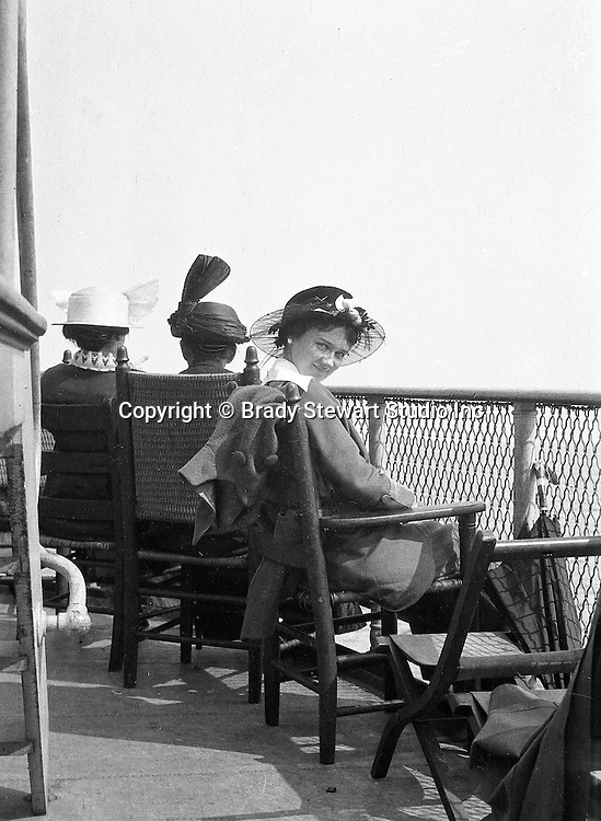 Niagara Falls, New York:  Sarah Stewart on the deck of the Dalhousie City in route to Queenston Ontario.
