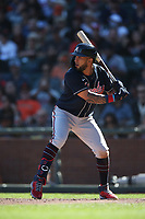 SAN FRANCISCO, CA - SEPTEMBER 19:  Eddie Rosario #8 of the Atlanta Braves bats against the San Francisco Giants during the game at Oracle Park on Sunday, September 19, 2021 in San Francisco, California. (Photo by Brad Mangin)