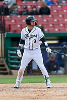 Kane County Cougars catcher Zachery Almond (9) during a Midwest League game against the Cedar Rapids Kernels at Northwestern Medicine Field on April 28, 2019 in Geneva, Illinois. Kane County defeated Cedar Rapids 3-2 in game one of a doubleheader. (Zachary Lucy/Four Seam Images)
