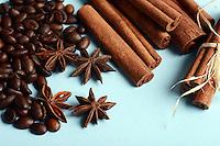 Spices - coffee , anise stars , cinnamon