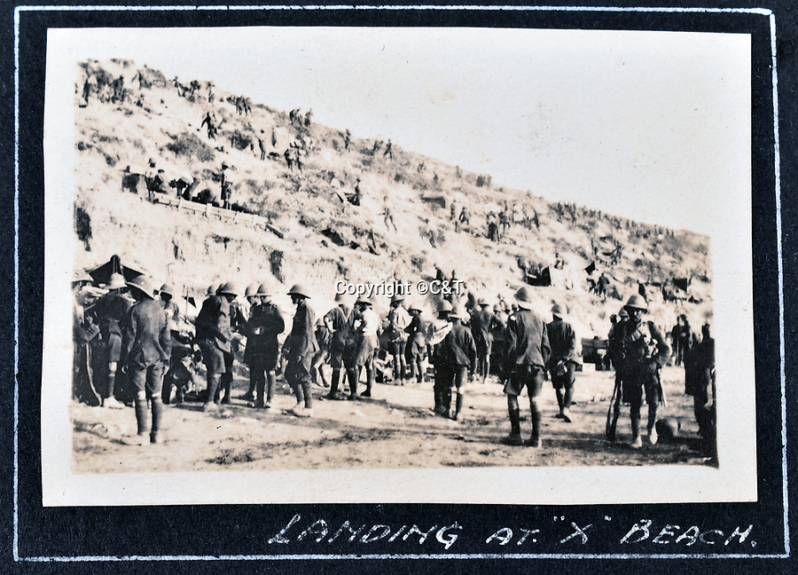 BNPS.co.uk (01202 558833)<br /> Pic: C&T/BNPS<br /> <br /> Landing on X beach.<br /> <br /> Never before seen photos of the disastrous Gallipoli campaign have come to light over a century later.<br /> <br /> The fascinating snaps were taken by Sub Lieutenant Gilbert Speight who served in the Royal Naval Air Service in World War One.<br /> <br /> They feature in his photo album which covers his eventful war, including a later stint in Egypt.<br /> <br /> There are dramatic photos of the Allies landing at X Beach, as well as sobering images of a mass funeral following the death of 17 Brits. Another harrowing image shows bodies lined up in a mass grave.<br /> <br /> The album, which also shows troops during rare moments of relaxation away from the heat of battle, has emerged for sale with C & T Auctions, of Ashford, Kent. It is expected to fetch £1,500.