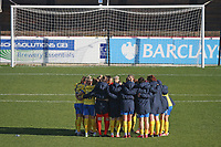 Brighton players huddle during West Ham United Women vs Brighton & Hove Albion Women, Barclays FA Women's Super League Football at the Chigwell Construction Stadium on 15th November 2020
