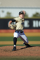 Wake Forest Demon Deacons relief pitcher Bobby Hearn (34) in action against the Gardner-Webb Runnin' Bulldogs at David F. Couch Ballpark on February 18, 2018 in  Winston-Salem, North Carolina. The Demon Deacons defeated the Runnin' Bulldogs 8-4 in game one of a double-header.  (Brian Westerholt/Four Seam Images)