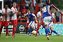 Jose Baxter of Oldham fires in a free-kick<br />  Stevenage v Oldham Athletic - Sky Bet League 1 - Lamex Stadium, Stevenage - 3rd August, 2013<br />  © Kevin Coleman 2013