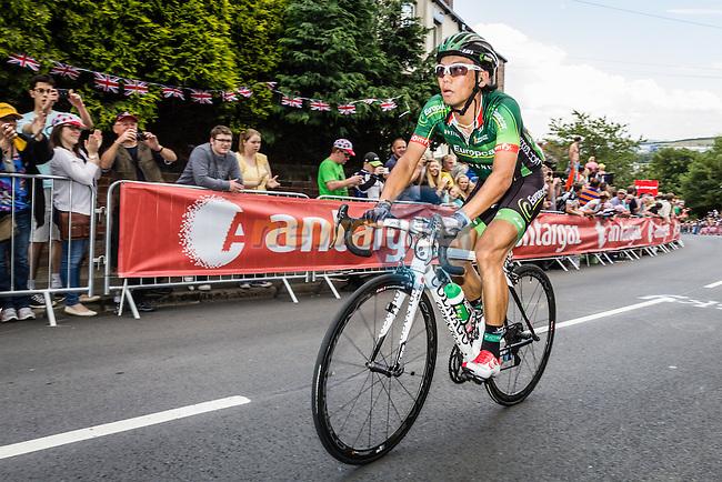 The peleton including Yukiya Arashiro (JPN) Team Europcar tackle Cote du Jenkin Road the final brutal climb near the end of Stage 2 of the 2014 Tour de France running 200km from York to Sheffield. 6th July 2014.<br /> Picture:Thomas van Bracht/Peloton Photos/www.newsfile.ie