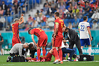ST PETERSBURG, RUSSIA - JUNE 12 :  Timothy Castagne defender of Belgium with an injury to the head pictured during the 16th UEFA Euro 2020 Championship Group B match between Belgium and Russia on June 12, 2021 in St Petersburg, Russia, 12/06/2021 <br /> Photo Photonews / Panoramic / Insidefoto <br /> ITALY ONLY