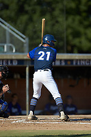 Jack Elliot (21) (Mercyhurst) of the Martinsville Mustangs at bat against the High Point-Thomasville HiToms at Finch Field on July 26, 2020 in Thomasville, NC.  The HiToms defeated the Mustangs 8-5. (Brian Westerholt/Four Seam Images)