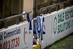 Chester City 1 Altrincham 3, 21/11/2009. Deva Stadium, Football Conference. Home supporters scarves tied over a gate in the Harry McNally Stand at the Deva Stadium, Chester, home of Chester City Football Club, during the club's Blue Square Premier fixture against Cheshire rivals Altrincham. The visitors won by three goals to one. Chester were in administration at the start of the season and were penalised 25 points before the season began. Photo by Colin McPherson.