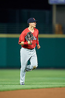 Pawtucket Red Sox center fielder Kyle Wren (24) jogs off the field during a game against the Rochester Red Wings on July 4, 2018 at Frontier Field in Rochester, New York.  Pawtucket defeated Rochester 6-5.  (Mike Janes/Four Seam Images)